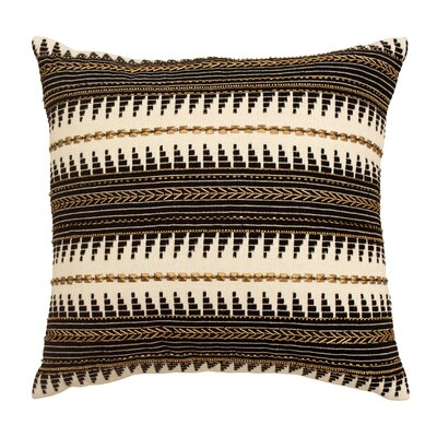 Jayce Hand Beaded Cotton Throw Pillow