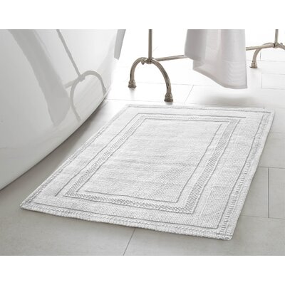Chelmscote Cotton Stonewash Racetrack Bath Rug Color: White, Size: 21 W x 34 L