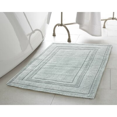 Berrian Cotton Stonewash Racetrack Bath Rug Color: Gray Blue, Size: 17 W x 24 L