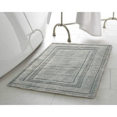 Chelmscote Cotton Stonewash Racetrack Bath Rug Color: Gray Blue, Size: 21 W x 34 L