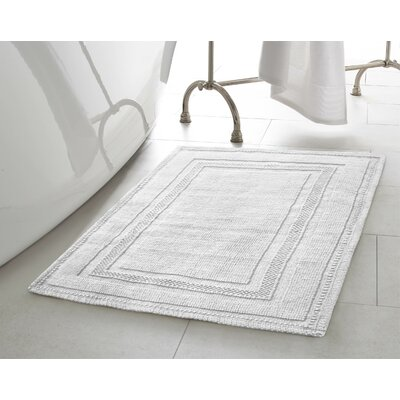 Chelmscote Cotton Stonewash Racetrack 2 Piece Bath Rug Set Color: White