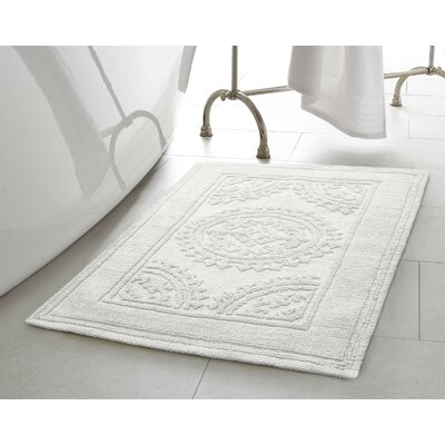 Chesapeake Cotton Stonewash Medallion Bath Rug Color: White, Size: 17 W x 24 L