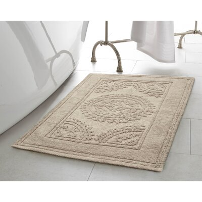 Chesapeake Cotton Stonewash Medallion Bath Rug Color: Taupe Gray, Size: 21 W x 34 L