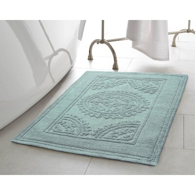 Chesapeake Cotton Stonewash Medallion Bath Rug Color: Marine Blue, Size: 17 W x 24 L