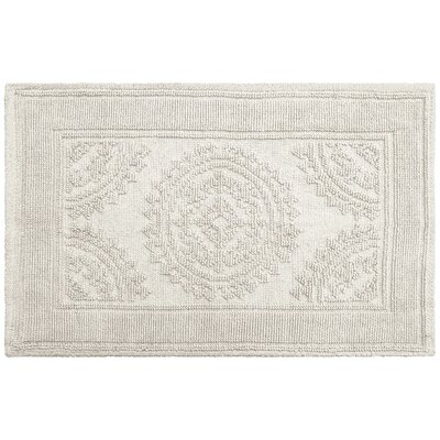 Berrien Cotton Stonewash Medallion Bath Rug Color: Light Gray, Size: 21 W x 34 L