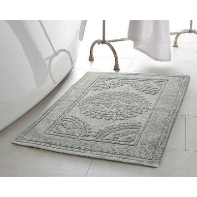 Chesapeake Cotton Stonewash Medallion Bath Rug Color: Gray Blue, Size: 17 W x 24 L