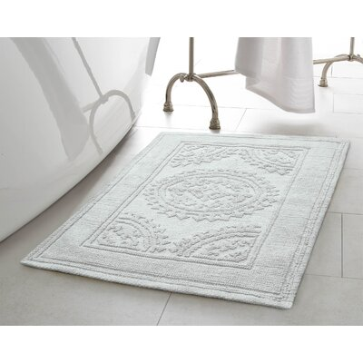 Berrien Cotton Stonewash Medallion 2 Piece Bath Rug Set Color: White