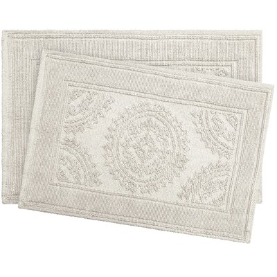 Chesapeake Cotton Stonewash Medallion 2 Piece Bath Rug Set Color: Light Gray