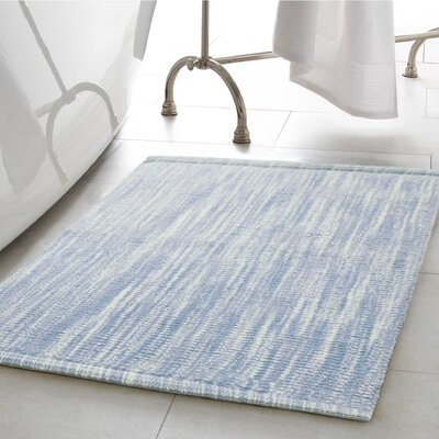Deming Cotton Slub Bath Rug Color: Pale Blue, Size: 21 W x 34 L