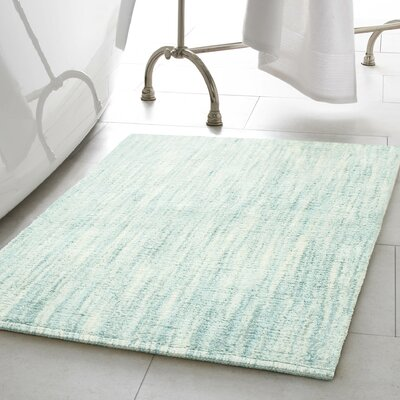 Deming Cotton Slub Bath Rug Color: Aqua, Size: 17 W x 24 L