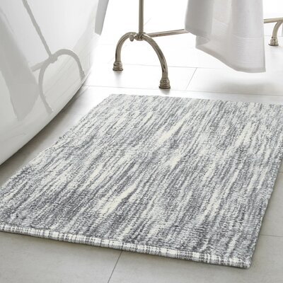 Deming Cotton Slub Bath Rug Color: Light Gray, Size: 21 W x 34 L