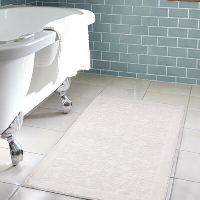 Jorgen Turkish Cotton Crochet Bath Rug Color: White, Size: 22 W x 60  L