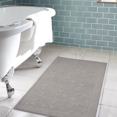 Jorgen Turkish Cotton Crochet Bath Rug Color: Dark Gray, Size: 21 W x 34 L