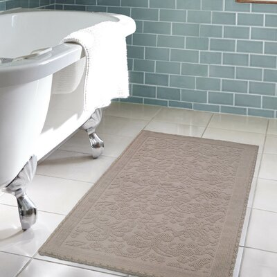 Jorgen Turkish Cotton Crochet Bath Rug Color: Linen, Size: 22 W x 60  L