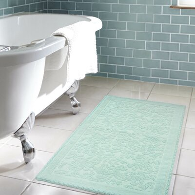 Jorgen Turkish Cotton Crochet Bath Rug Color: Aqua, Size: 21 W x 34 L