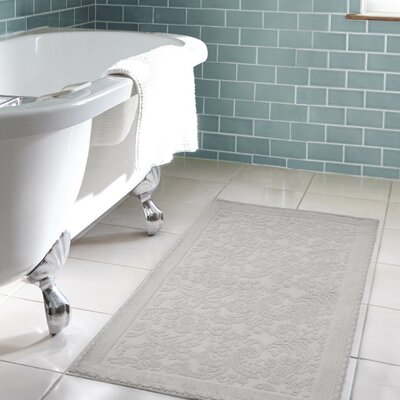 Jorgen Turkish Cotton Crochet Bath Rug Color: Light Gray, Size: 22 W x 60  L