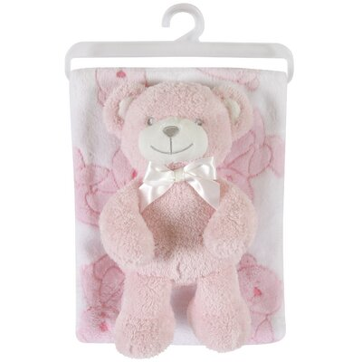 Fleece Blanket and Bear Plush Toy Set Color: Pink