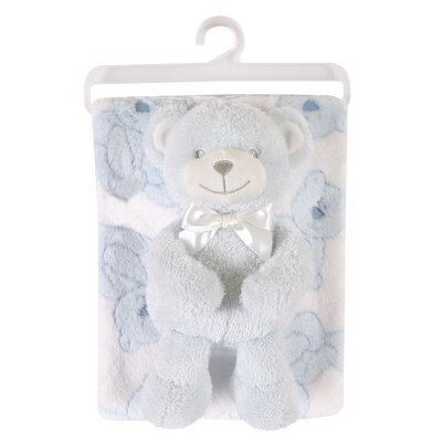 Fleece Blanket and Bear Plush Toy Set Color: Blue