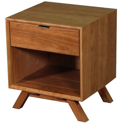 MidCentury 1 Drawer Nightstand Color: Cherry