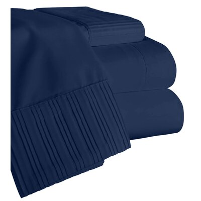 Chamberlain London Microfiber Sheet Set Color: Navy Blue, Size: Queen