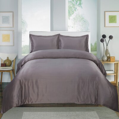 3 Piece Duvet Cover Set Color: Gray, Size: King