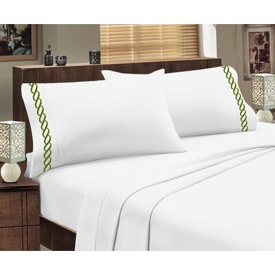 Greek Sheet Set Color: White/Lime Green, Size: Queen