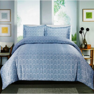 Paisley 600 Thread Count Cotton Sateen Sheet Set Color: Blue, Size: Queen