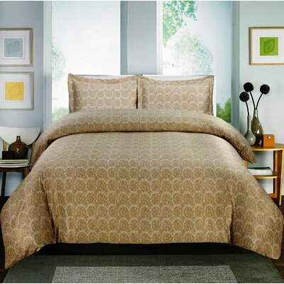 Paisley 600 Thread Count Cotton Sateen Sheet Set Color: Gold, Size: Queen