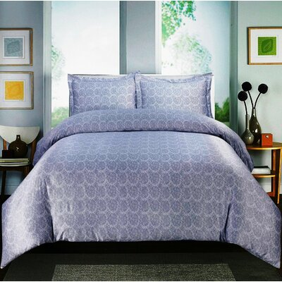 Paisley 600 Thread Count Cotton Sateen Sheet Set Color: Gray, Size: Twin