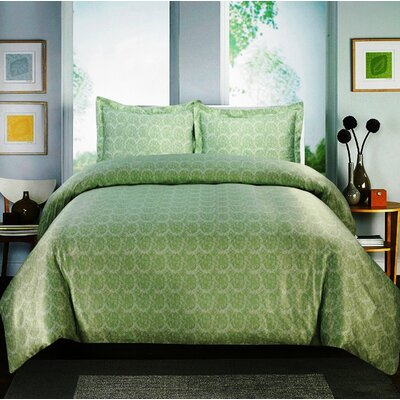 Paisley 600 Thread Count Cotton Sateen Sheet Set Color: Sage, Size: King