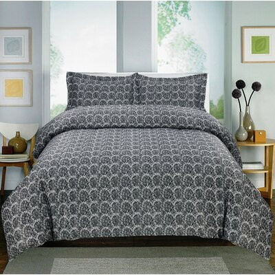 Paisley 600 Thread Count Cotton Sateen Sheet Set Color: Black, Size: Full
