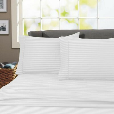 Sheldrake 600 Thread Count 100% Cotton Sheet Set Color: White, Size: Queen