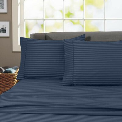 Sheldrake 600 Thread Count 100% Cotton Sheet Set Color: Navy Blue, Size: Full