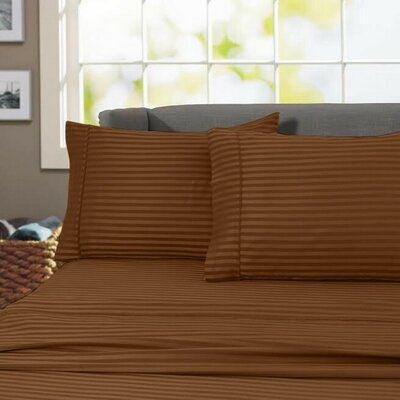 Sheldrake 4 Piece 600 Thread Count 100% Cotton Sheet Set Color: Brown