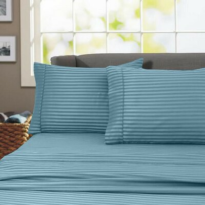 Sheldrake 600 Thread Count 100% Cotton Sheet Set Color: Teal, Size: Twin