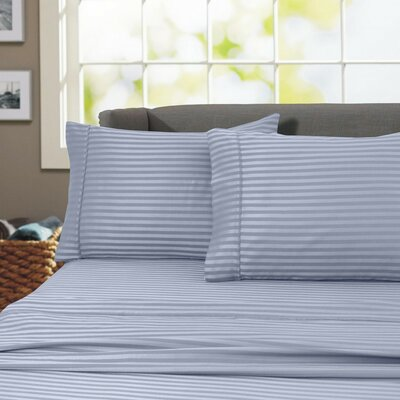 Sheldrake 600 Thread Count 100% Cotton Sheet Set Color: Blue, Size: King