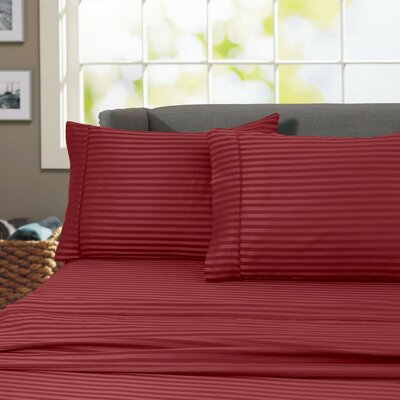 Sheldrake 600 Thread Count 100% Cotton Sheet Set Color: Burgundy, Size: King