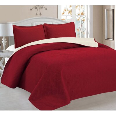 3 Piece Reversible Quilt Set Color: Burgundy/Beige, Size: King