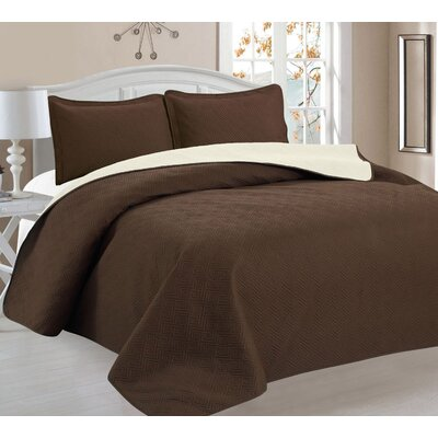 3 Piece Reversible Quilt Set Color: Brown/Beige, Size: Full/Queen
