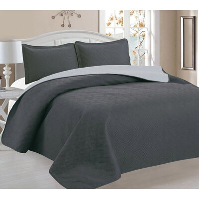 3 Piece Bedspread Set Color: Gray/Sliver, Size: Full/Queen
