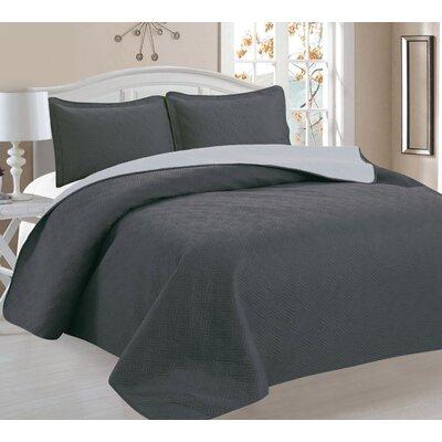 3 Piece Reversible Quilt Set Color: Gray/Sliver, Size: Full/Queen