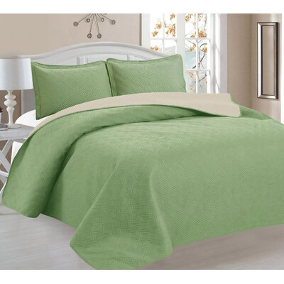 3 Piece Reversible Quilt Set Color: Sage/Ivory, Size: King