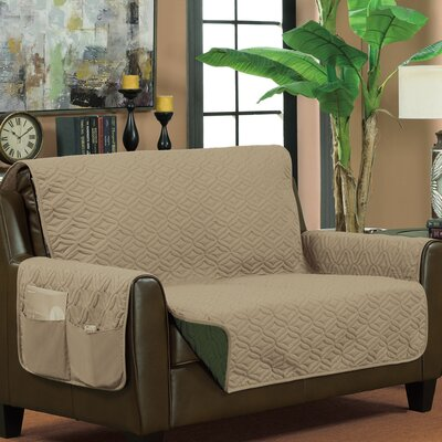Box Cushion Loveseat Slipcover Upholstery: Taupe/Hunter