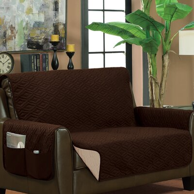 Box Cushion Loveseat Slipcover Upholstery: Brown/Beige