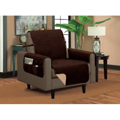 Classic Box Cushion Armchair Slipcover Upholstery: Bronze/Brown