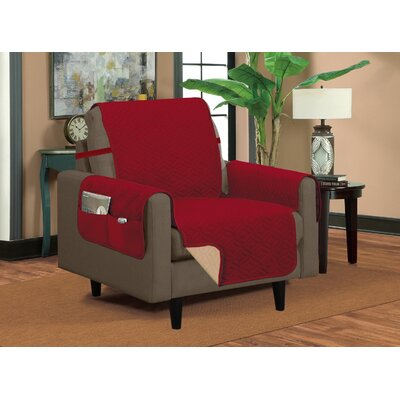 Classic Box Cushion Armchair Slipcover Upholstery: Burgundy/Beige