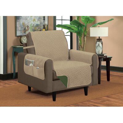 Classic Box Cushion Armchair Slipcover Upholstery: Taupe/Hunter