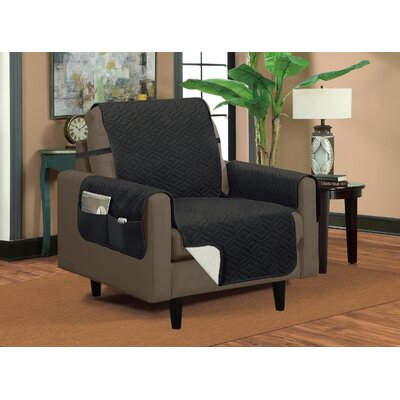 Classic Box Cushion Armchair Slipcover Upholstery: Gray/Silver
