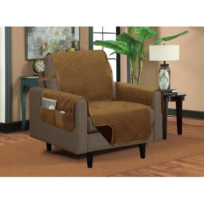 Classic Box Cushion Armchair Slipcover Upholstery: Brown/Beige