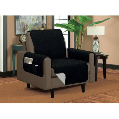 Classic Reversible Quilted Microfiber Armchair Slipcover Upholstery: Black/Silver